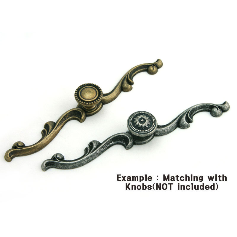 Antique style decorative back plate for cabinet knobs - Dresser drawer pulls with backplate ...